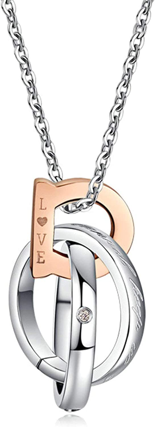 MoAndy Necklace for Couple Titanium Steel Pendant Necklaces Love Three Rings Twisted with Cubic Zirconia