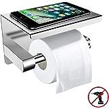 Toiletpapierhouder met Legplank Zonder Boren, ZOTO Wc-Rolhouder voor Wandmontage voor Keuken en Badkamer Toiletrolhouder Zilver
