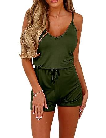f331a549e54 Amazon.com  Ivrose Women s Sleeveless Shirring Waist Casual Romper  Clothing