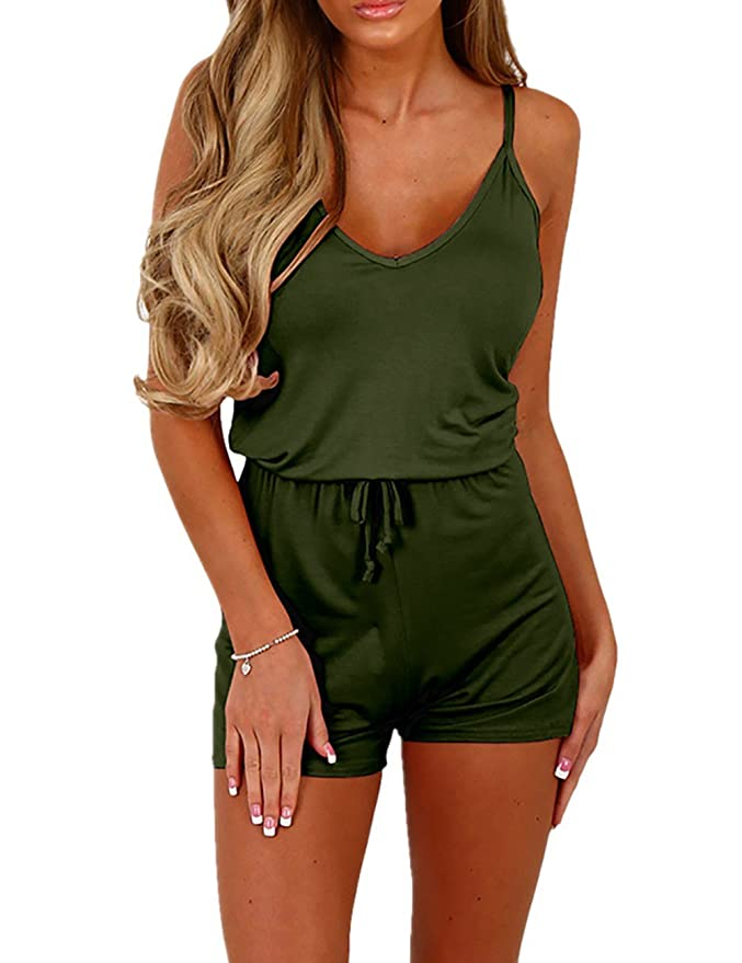 e2f698d34b263 Amazon.com: Ivrose Women's Sleeveless Shirring Waist Casual Romper ...