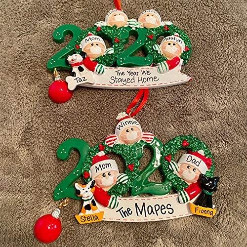 Blaward Personalized Name Christmas Ornament 1-7 Family Members, 2020 Survivor Family Customized Christmas Tree Hanging Decorating Kit, Creative DIY Gift Decorative