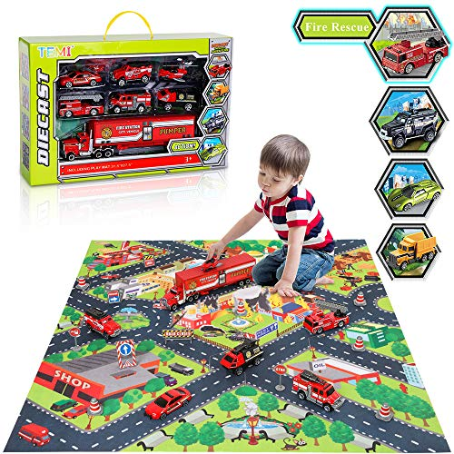 Police Fire Truck - TEMI Diecast Emergency Fire Rescue Vehicle Toy Set w/ Play Mat, Truck Carrier, Water Cannon Vehicle, Medical Ambulance, Ladder Truck, Alloy Metal Fire Fighting Car Play Set for Kids, Boys & Girls