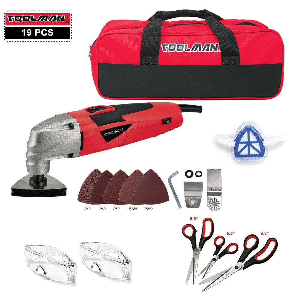 Toolman 19pcs Multi-Purpose Oscillating Tool 2.1A 5 Speed with Cutting Grinding Safety Goggle Glasses and Tool Bag For Cutting Grinding works with DeWalt Makita Ryobi Accessories