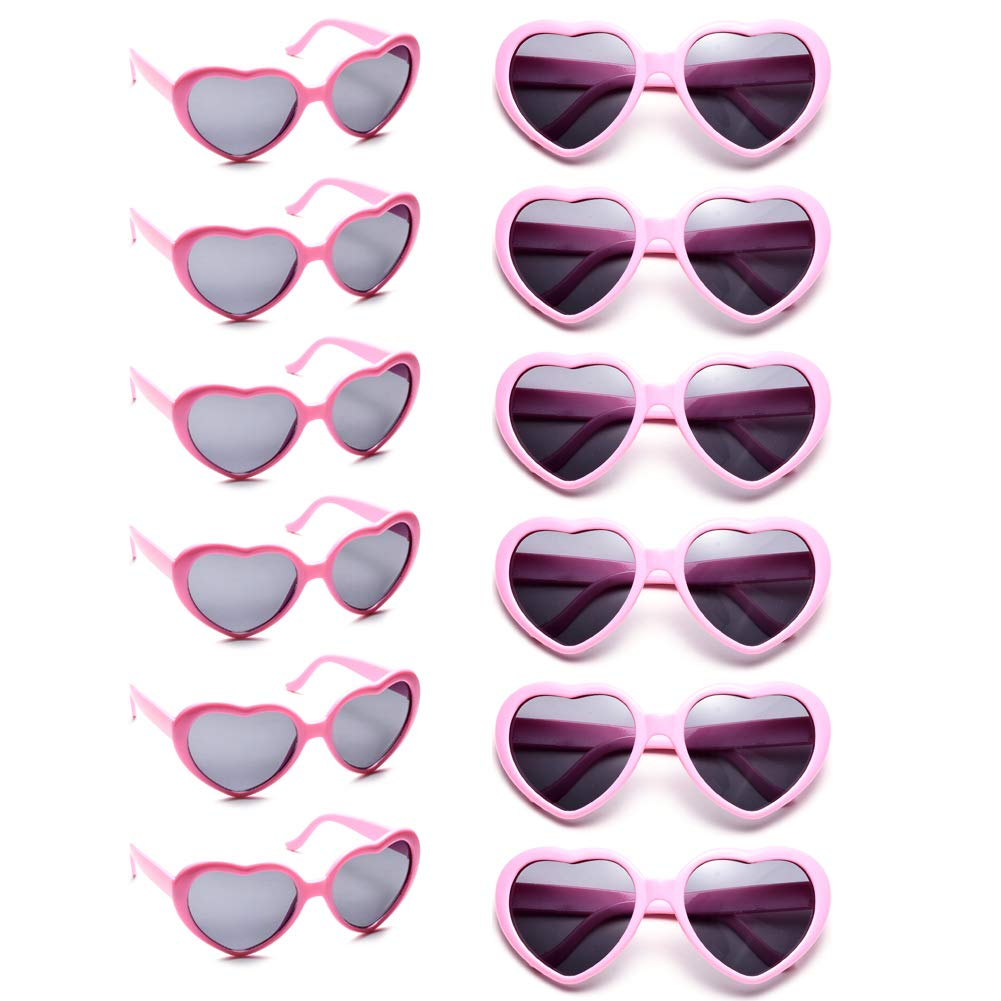 12 Pack Wholesales Heart Shape Design Neon Colors Cute Love Sunglasses for Birthday, Bachelorette, Sunmmer Vacation Parties 100% UV Protection Eyewear for Women and Girls (pink)