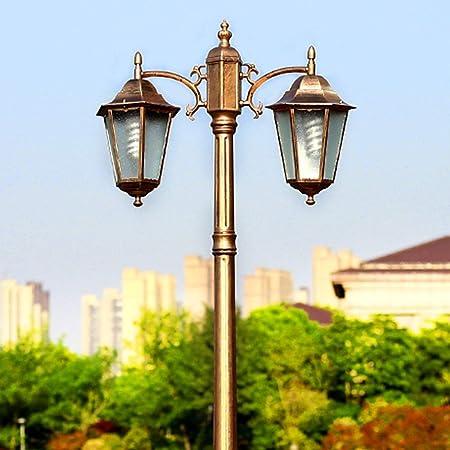 2-luz Europea jardín publicar Luces 2M Paisaje Externo de sobremesa iluminación Exterior-óxido Impermeable IP54 Calle Comunidad E27 Alto Polo Villa Patio Cubierta Pond Lights (Color : Brass): Amazon.es: Hogar