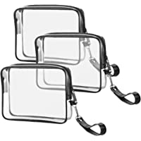 3 PACK TSA Approved Toiletry Bag Ariza Clear Travel Cosmetics Bags With Handle Strap Airline Compliant 3-1-1 Liquids Toiletries Kit Quart Size Carry-On Luggage Pouch for Women and Men
