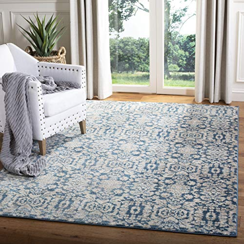 Safavieh Sofia Collection SOF381C Vintage Blue and Beige Distressed Area Rug (8' x - Pottery Vintage