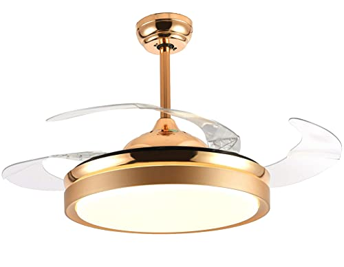 Bella Depot Ceiling Fans with Lights Gold Contemporary Ceiling Fans Retractable Blades Remote Control Included, CCT Dimmable LED Light