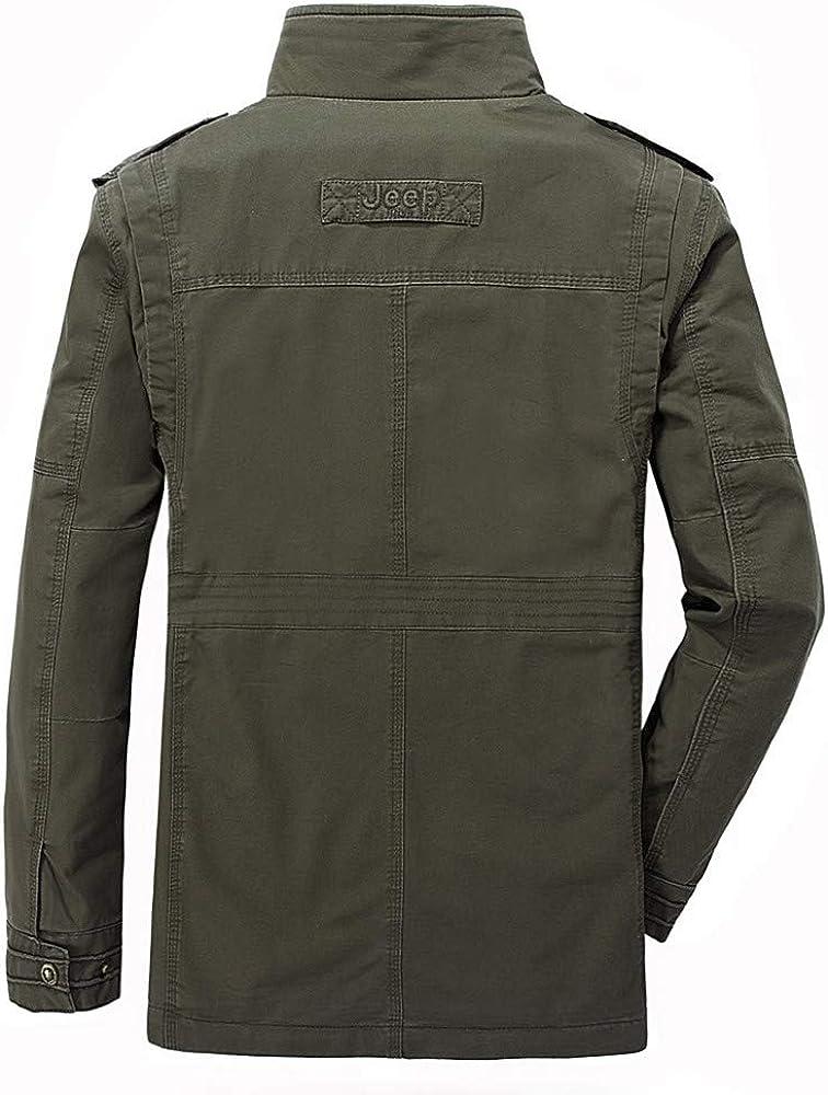 Rosiest Mens Autumn Winter Fashion Multi-Pocket Medium Length Long Sleeve Jacket Coat