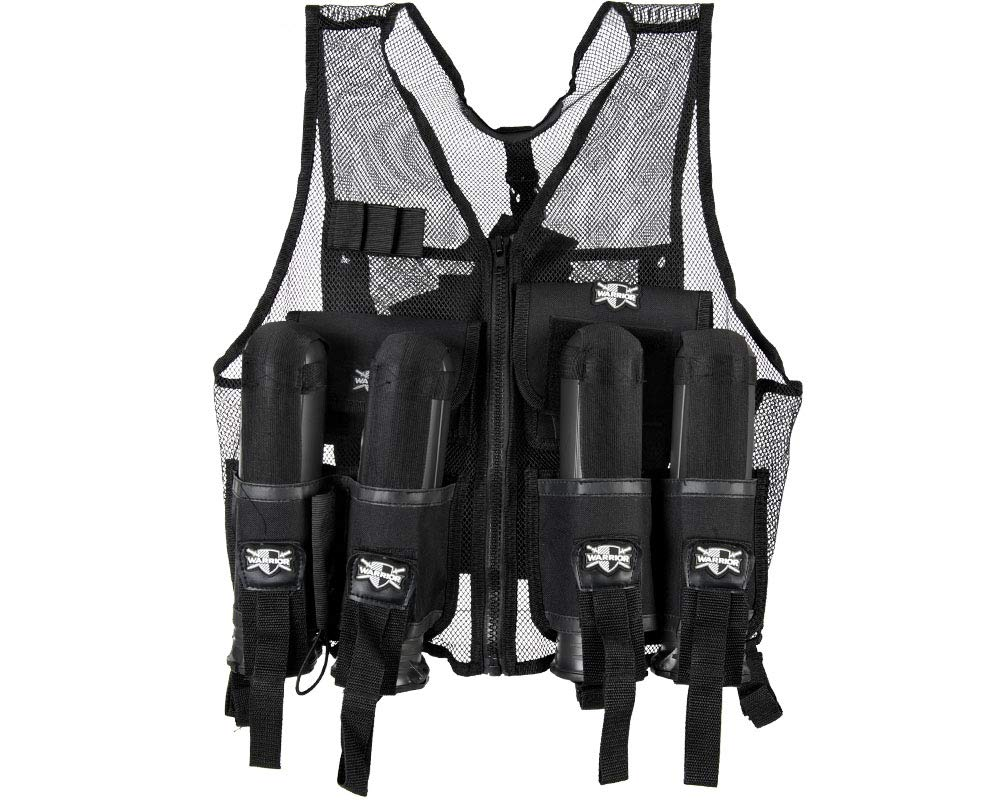Action Village Tactical Warrior Paintball Vest - Adjustable Light Weight Version Holds 4 Pods & 1 Tank (Vest Only) by Action Village