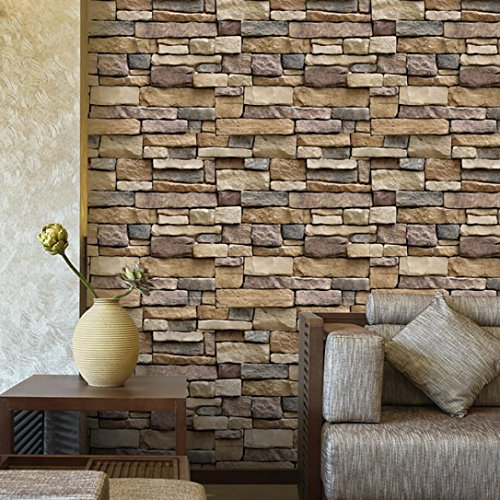❉Wall Sticker Wallpaper❉3D Wall Paper 3D Tile Sticker Wallcovering Wall Paper Brick Stone Rustic Effect Self-Adhesive Wall Sticker Home Decor Susenstone (Multicolor) Rustic Stone
