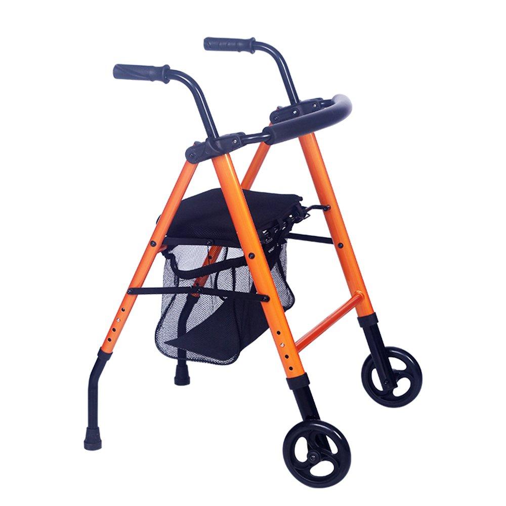 多機能ウォーキングエイズオレンジホイールシートトロリー美しく、実用的な高齢者に適して   B07DN3QTDZ