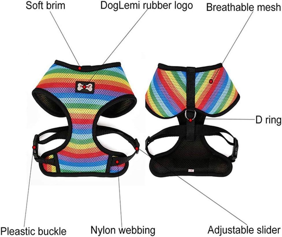 SHANNA Cablaggio del Cane Pet Cablaggio della Maglia Traspirante Arcobaleno Mesh Leggero Facile Sostituzione per Outdoor Walking