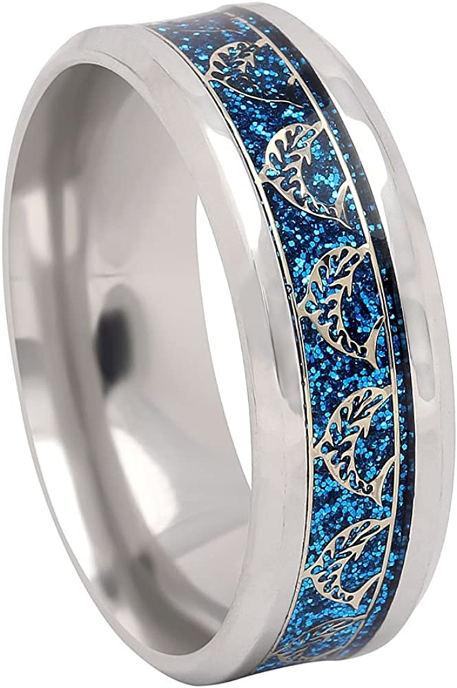 Ginger Lyne Collection Dolphins Stainless Steel Comfort Fit Wedding Band All Ocassion Ring Gold Color Inlay on Blue Background Ocean Wave Beach Lovers Rings Men Women Girls Fashion Jewelry