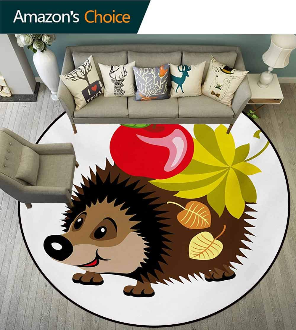 RUGSMAT Hedgehog Modern Washable Round Bath Mat,Cartoon Spiky Animal with Leaves and an Apple Smile Happiness Nature Inspirations Non-Slip Bathroom Soft Floor Mat Home Decor,Diameter-71 Inch