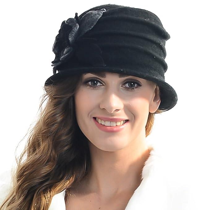 714738dcd31 Z S Retro Women Floral Trimmed Wool Blend Cloche Winter Hat (Black ...