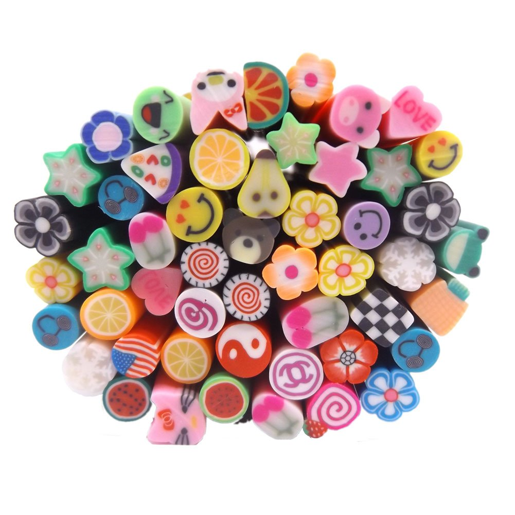 Warm Mädchen 50pc Fimo Canes 3D Design Ruten Sticks Aufkleber Nail Art Dekorationen Tools... Warm Girl