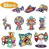 Shinehalo 66 PCS Creative Magnetic Building Blocks Set, 3D Magnetic Tiles STEM Educational Building Construction Toys for Kids (Include 2pcs Car Wheels + 1pc Ferris Wheel Set + 42pcs Cards)