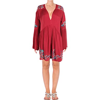 3c8aaaae4695 Free People Womens Embroidered Bell Sleeves Mini Dress at Amazon Women's  Clothing store: