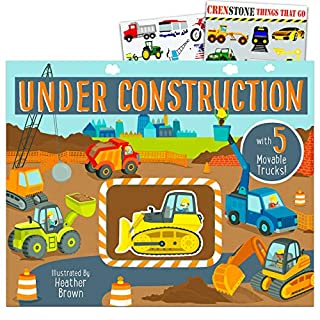 Under Construction Book for Toddlers Set ~ Construction Vehicles Book with Movable Trucks and Bonus Stickers