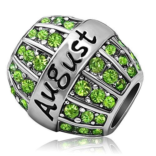 JMQJewelry Birthday Charms Bead For Bracelets (Green, August Birthstone)