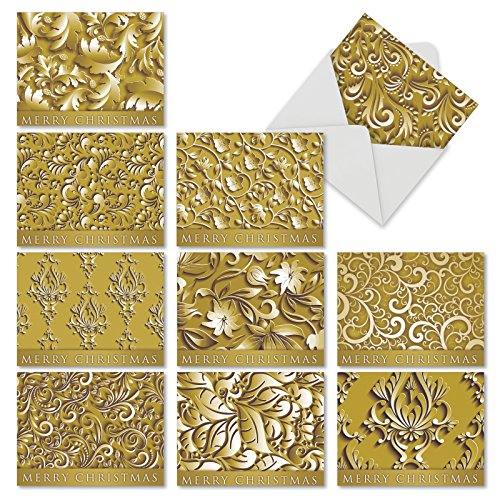 Best card company christmas cards amazon m6712xsb golden holidays 10 assorted blank note cards 10 assorted blank christmas greeting cards with envelopes by the best card company m4hsunfo