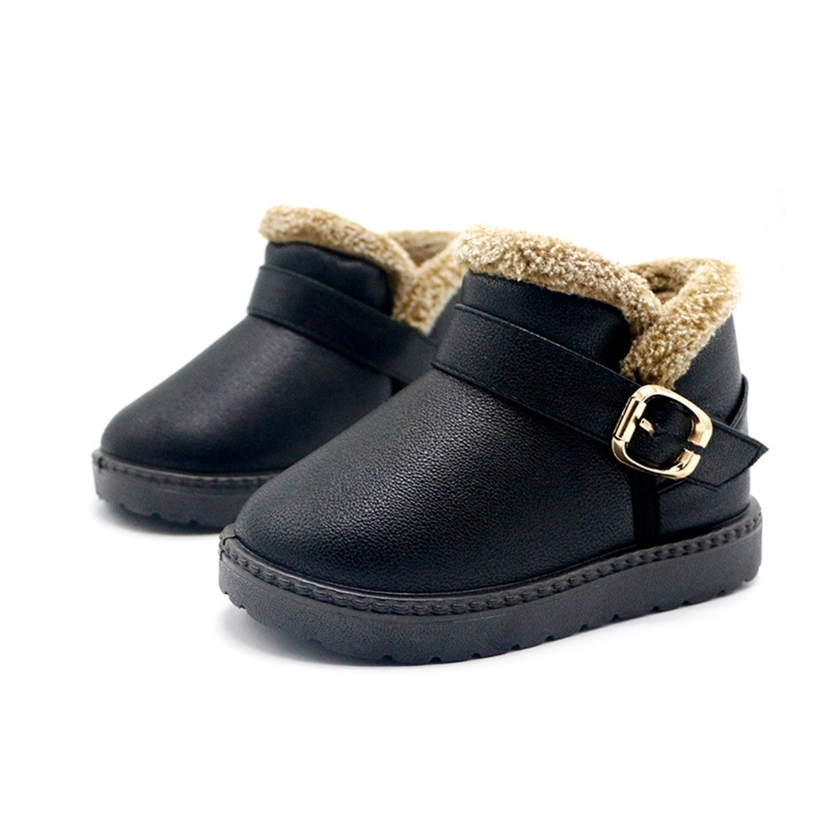 TAIYCYXGAN Baby Girls Boys Winter Snow Boots Kids Warm Faux Fur Leather Boots Waterproof Shoes