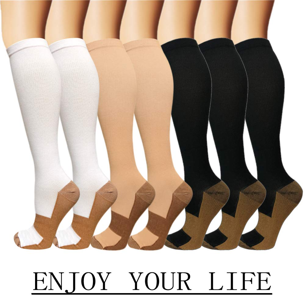 7 Pack Copper Knee High Compression Socks For Men & Women - Best For Running,Athletic,Medical,Pregnancy and Travel -15-20mmHg (S/M, Multicoloured 2)