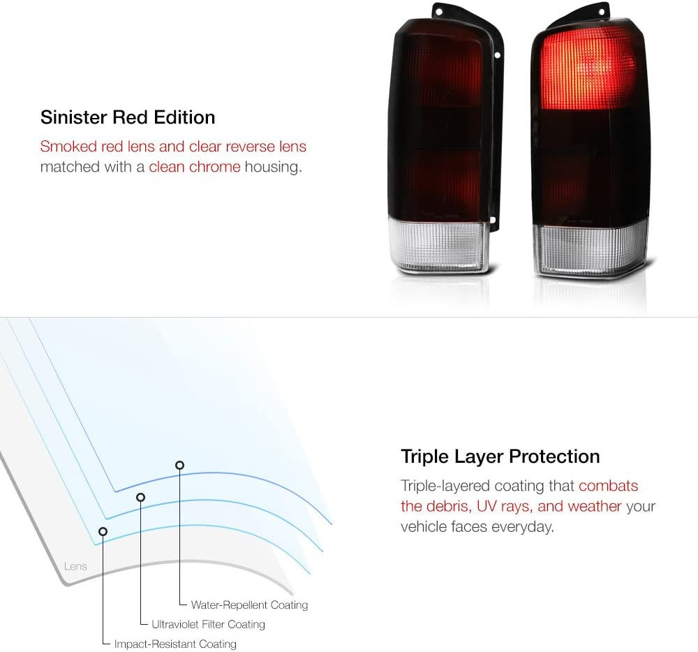 Driver /& Passenger Side VIPMOTOZ Smoke Red Lens OE-Style Tail Light Lamp Assembly For 1997-2001 Jeep Cherokee