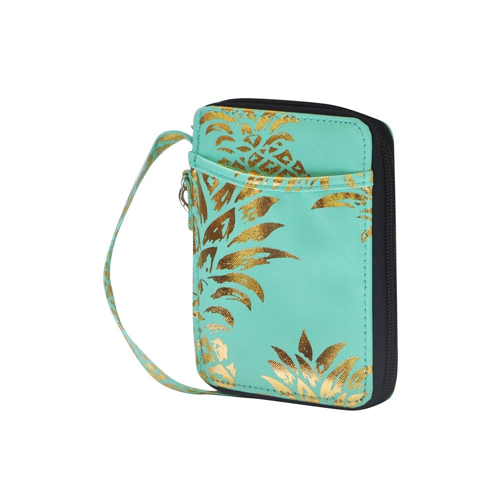 Southern Pineapple Print NGIL Canvas Wristlet Wallet Gold Collection