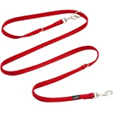 PETBABA 6.2ft Multifunctional Dog Leash, Double Ended Lead Last Long, Walk Train Your Pet in European Multiple Way in Red