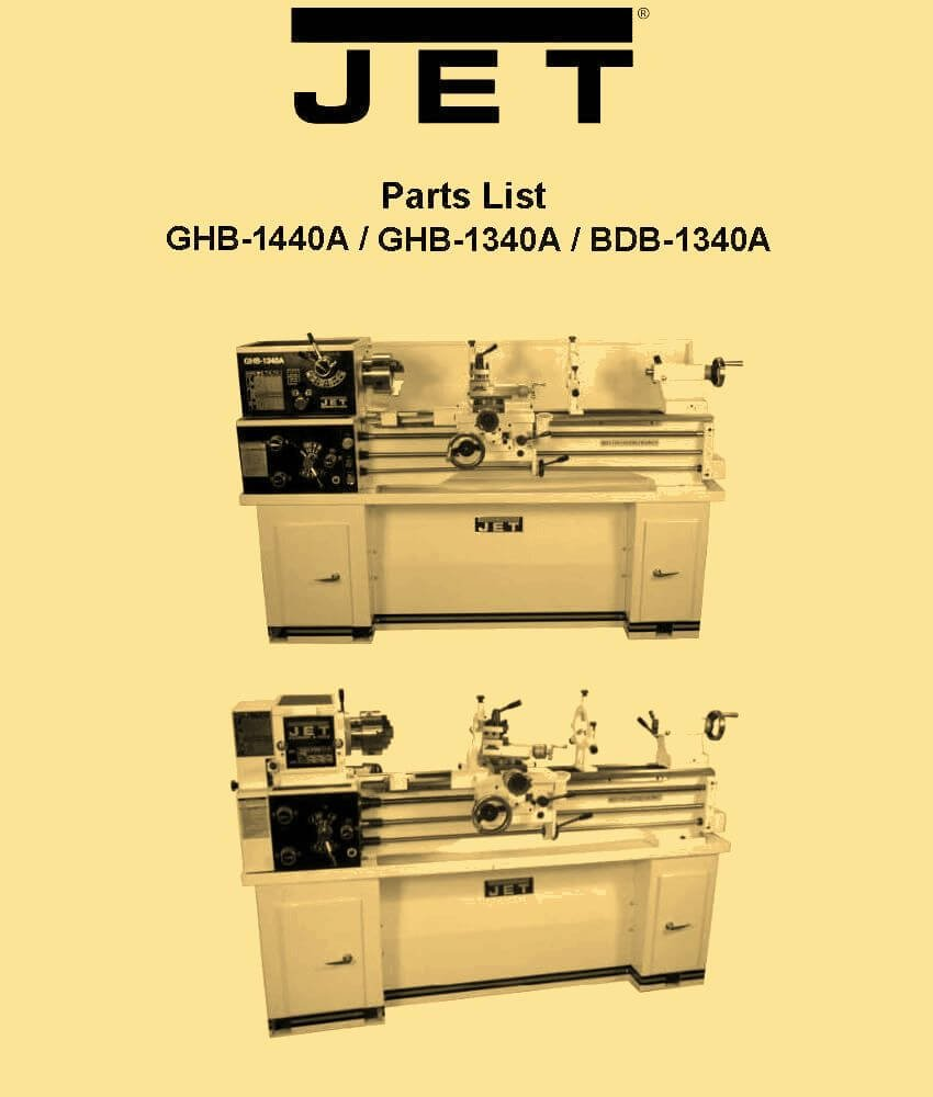 Jet Ghb 1340a 1440a Bdb Metal Lathe Parts Manual Misc Wiring Diagram Books