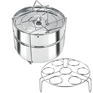 Stackable Stainless Steel Pressure Cooker Steamer Insert Pans with Sling and egg rack - Instant Pot in Pot Accessories- Food Steamer for cooking (6 Quart)