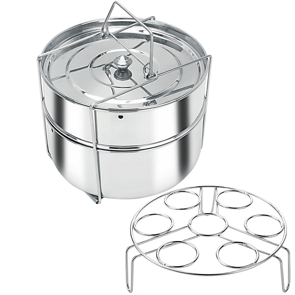 Stackable Stainless Steel Pressure Cooker Steamer Insert Pans with Sling and egg rack - Instant Pot in Pot Accessories- Food Steamer for cooking- Fits 6 & 8 qt instant pot (On Sale Limited Time!)