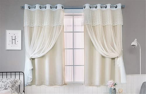 Lotus Karen Fashion 4-Piece Lace Valance Solid Gathered Tulle Sheer Blackout Grommet Curtain Panel Set for Living Room and Bedroom