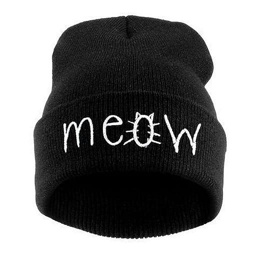 Lavany Winter Knit Meow Beanie Hat Snapback Men Women Hiphop Caps (Black) 1659d301eb