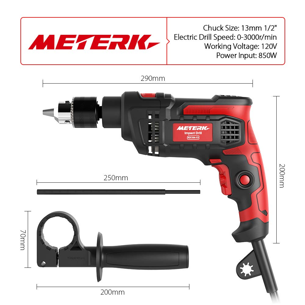 Meterk 7.0 Amp 1/2 Inch Corded Drill 850W, 3000RPM Dual Switch Between Electric Hammer Drill and Impact Drill, With Adjustable Speed for Drilling Wood, Steel, Concrete&Plastic DIY Drilling by Meterk (Image #4)