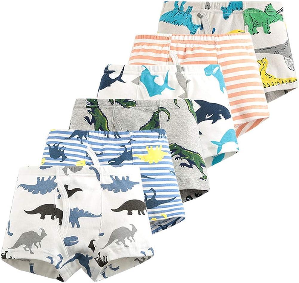 Toddler Little Boys Underwear Soft Cotton Boxer Briefs Dinosaur Robot Shark 6 Pack 2-9Y