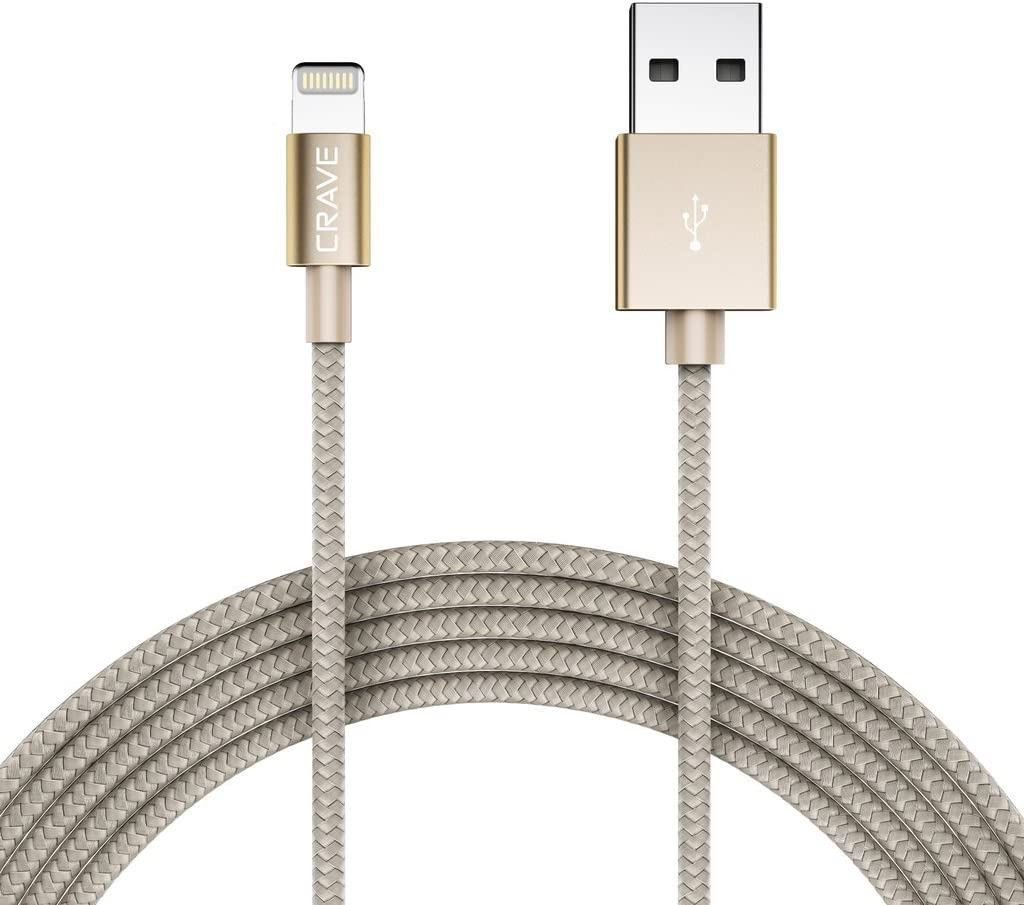 Crave Apple MFI Certified Lightning to USB Cable - Premium Nylon Braided Cable 4 FT - Gold