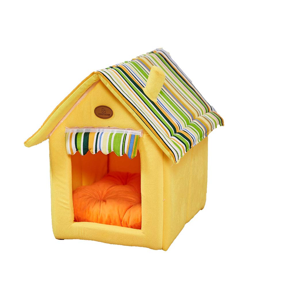 Beige MediumBed for Cats and Small Dogs House Pet Supplies Durable Plush Mat Pad Foldable Multi color Cozy Soft Warm Removable Comfortable,Beige,M