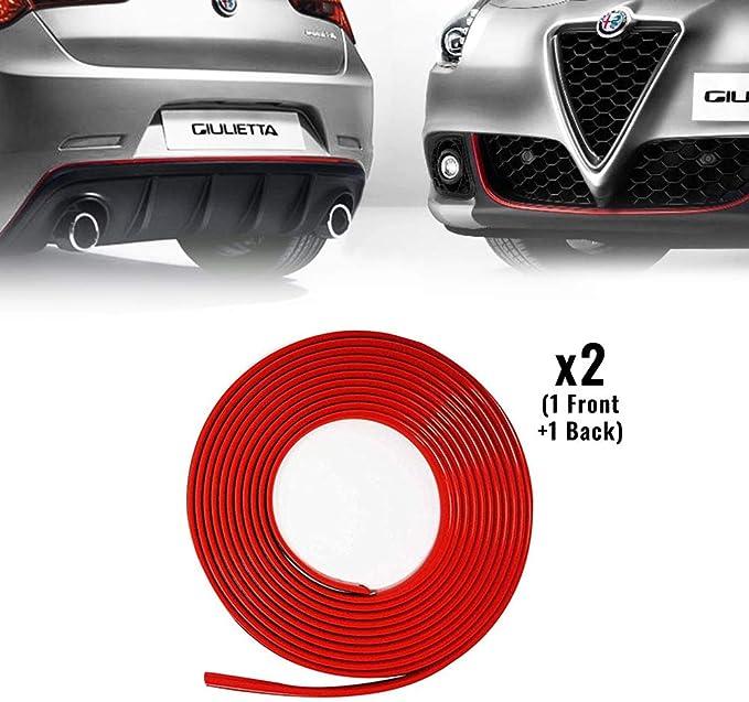 4r Quattroerre It 31863 Rotes Klebeprofil Für Alfa Giulietta Dam Vordere Hintere Stoßstange Mit 3m Doppelseitigem Klebeband Auto