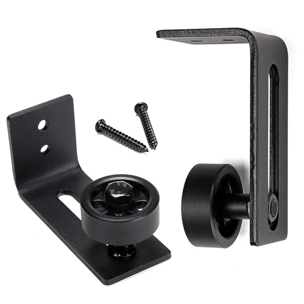 Sliding Door Rail, 8 In 1 Setup Options Adjustable Wall Mount Roller Stay Guide Channel guides Sits Flush to Floor Non-Scratch Wheels, Black