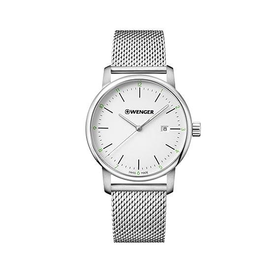 WENGER Reloj Analogico para Unisex de Cuarzo con Correa en Acero Inoxidable Urban Classic NO.: 01.1741.113: Amazon.es: Relojes