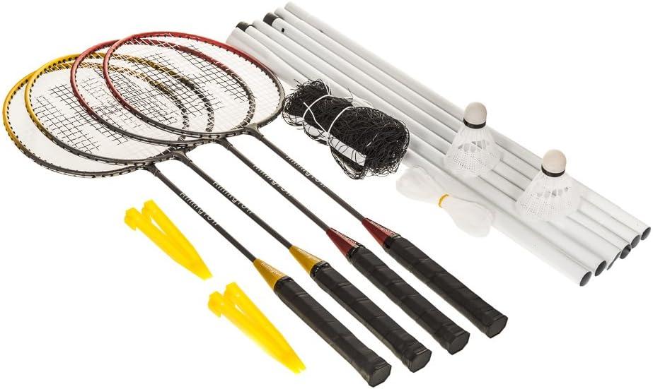 Hillington/® Ensemble complet de tournoi de badminton pour 4/joueurs Avec raquettes poteaux et filet dans une housse de transport volants