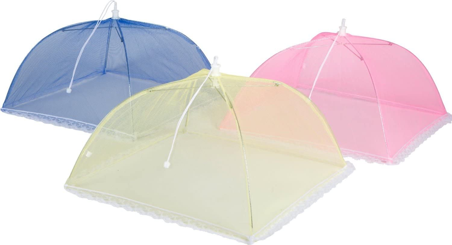 3pc Collapsible Pop Up Food Tent Covers - Keep Flies, Mosquitoes & Bugs Out of Your Food