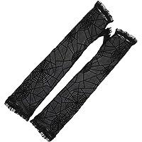 GLJYG Halloween spinnenweb handschoenen Gothic Punk Mesh wanten vingerloze halve vinger handschoenen Cosplay kostuum…