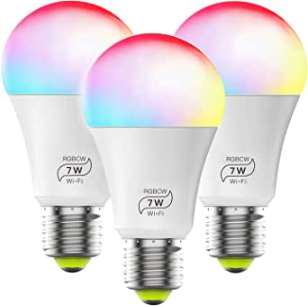 Smart Light Bulb No Hub Required, Zombber A19 E27 7w (60w Equivalent) 2700k-6500k Dimmable Multicolor WiFi LED Bulb, Compatible with Alexa Google Home Siri IFTTT (3Pack)