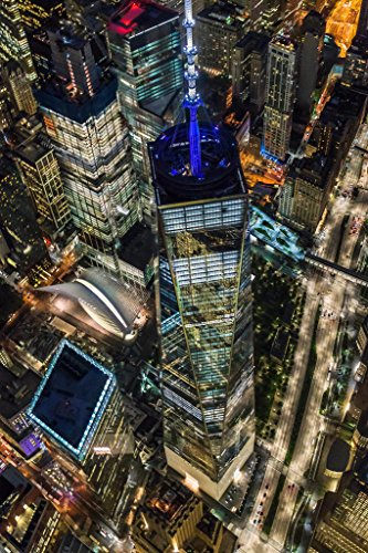 World Trade Center Illuminated Aerial View NYC Photo Art Print Poster (Trade View)