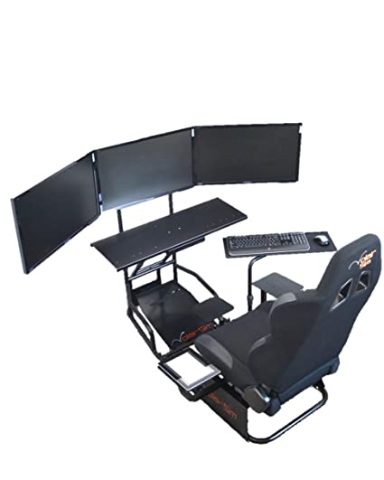 Volair Sim Universal Flight or Racing Simulation Cockpit Chassis with  Triple Monitor Mounts