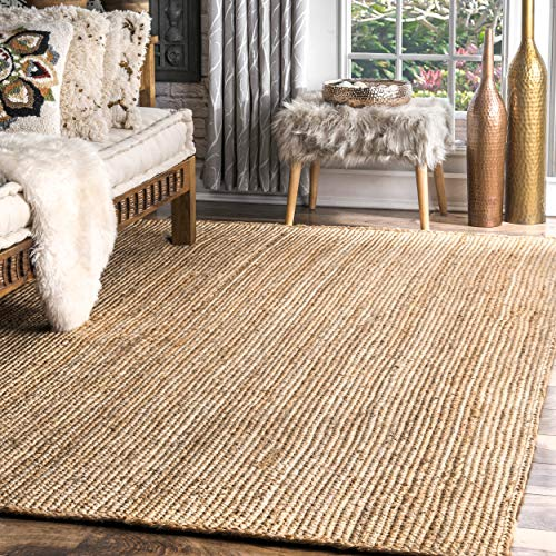 nuLOOM Handwoven Rigo Jute Rug, 8' x 10', Natural (Neutral Wool Rugs Area)